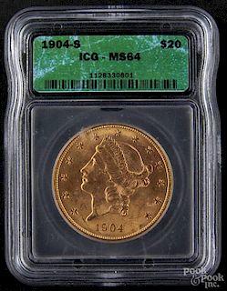 Gold Liberty Head twenty dollar coin, 1904 S, ICG MS-64.