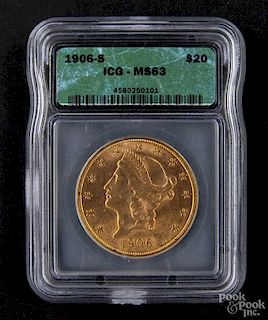 Gold Liberty Head twenty dollar coin, 1906 S, ICG MS-63.