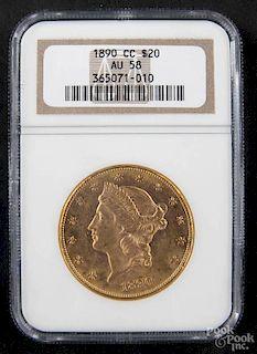 Gold Liberty Head twenty dollar coin, 1890 CC, NGC AU-58.