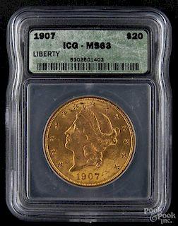 Gold Liberty Head twenty dollar coin, 1907, ICG MS-63.