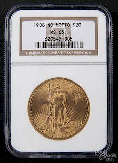 Gold Saint Gaudens twenty dollar coin, 1908, no motto, NGC MS-65.