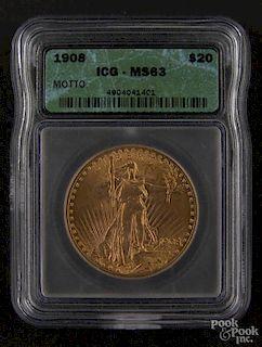 Gold Saint Gaudens twenty dollar coin, 1908, with motto, ICG MS-63.