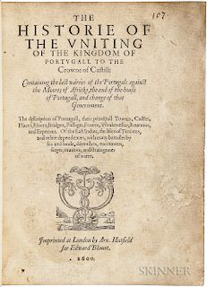 Conestaggio, Girolamo (1530-c. 1616) trans. Edward Blount (1562-1632) The Historie of the Vniting of the Kingdom of Portvgall to the Cr