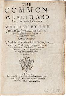 Contarini, Gasparo (1483-1542) The Common-Wealth and Government of Venice.