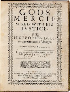 Cotton, John (1584-1652) God's Mercie Mixed with His Iustice, or His Peoples Deliverance in Times of Danger, Laid Open in Several Serm