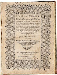 Demosthenes (c. 384-322 BC); Thomas Wilson, trans. (1525?-1581) The Three Orations of Demosthenes.