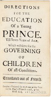 Du Moulin, Peter (1601-1684) Directions for the Education of a Young Prince.