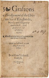 Grafton, Richard (1572?) Graftons Abridgement of the Chronicles of Englande.