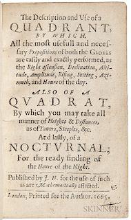 Hewlett, John (fl. circa 1665) The Description and Use of a Quadrant.