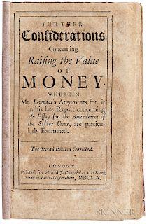 Locke, John (1632-1704) Further Considerations Concerning Raising the Value of Money.