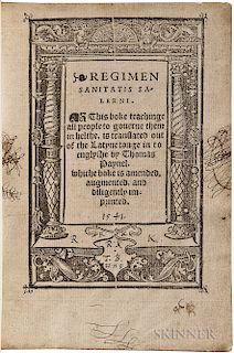 Mediolano, Joannes de (fl. 1100) Regimen Sanitatis Salerni. This Boke Teachinge All People to Governe them in Helthe, is Translated out