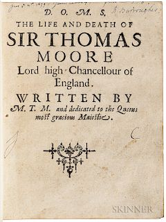 More, Cresacre (1572-1649) D.O.M.S. The Life and Death of Sir Thomas Moore.