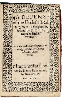 Northampton, Henry Howard, Earl of (1540-1614) A Defense of the Ecclesiasticall Regiment in Englande, Defaced by T.C. in his Replie aga