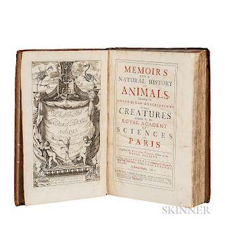 Perrault, Claude (1613-1688) Memoir's for a Natural History of Animals.