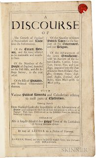 Pett, Sir Peter (1630-1699) A Discourse of the Growth of England in Populousness and Trade since the Reformation.