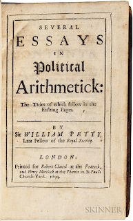 Petty, Sir William (1623-1687) Several Essays in Political Arithmetick.
