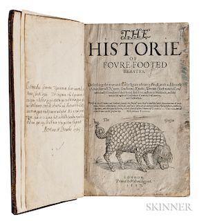 Topsell, Edward (1572-1625?) The Historie of Foure-Footed Beastes;   [bound with] The Historie of Serpents.