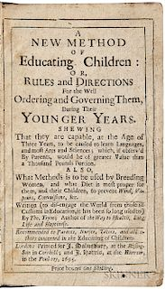 Tryon, Thomas (1634-1703) A New Method of Educating Children.