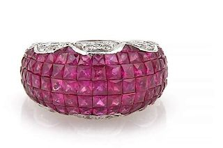 18k Gold French Cut Invisible Ruby Diamond Ring