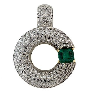Colombian Emerald Diamond White Gold Enhancer Pend