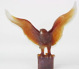 Daum Pate de Verre French Glass Eagle Sculpture