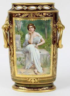 Royal Vienna Porcelain Vase. Signed Wagner.