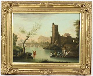 Antique 19th C River Scene Oil Painting On Canvas