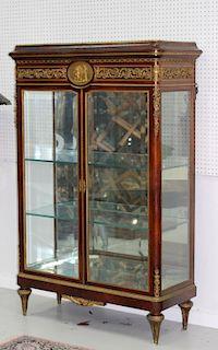 19th/20th C. Marquetry Oak & Dore Bronze Showcase