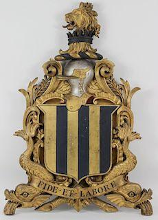 Large Antique Latin Gilt Carved Wooden Royal Crest