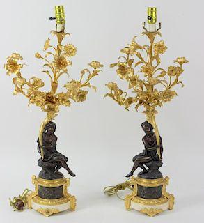 Italian Dore Bronze & Marble Maiden Table Lamps
