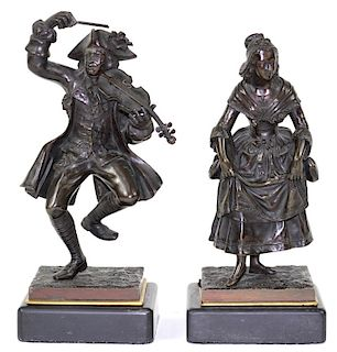 Pair of French Bronze Male & Female Jester Figures