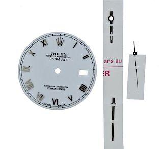 Rolex Datejust Roman White Watch Dial 16200 Hands Set