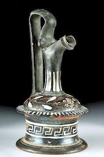 Greek Gnathian Epychisis Vessel - Flowers & Greek Key