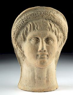 Etruscan Terracotta Head of a Young Man