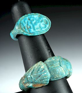 Lot of 2 Egyptian Faience Rings