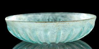 Roman Glass Pillar-Molded Bowl - Aqua Blue Color