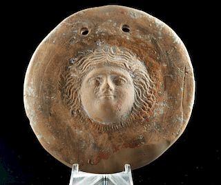 Hellenistic Greek Terracotta Gorgoneion Votive Shield