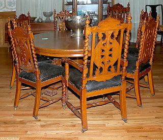 Set of Heavily Carved Oak Chairs