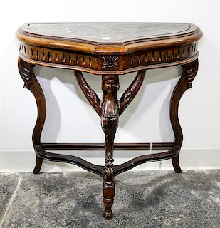 * A Baroque Style Walnut Side Table Height 24 1/2 x width 24 3/4 x depth 13 inches.