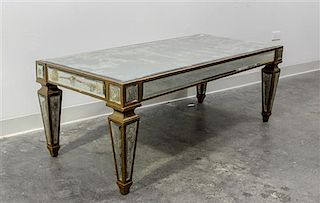 * A Mirror Veneered Low Table Height 18 3/4 x width 50 x depth 24 inches.