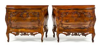 * A Pair of Louis XV Style Walnut Commodes Height 31 1/2 x width 41 3/8 x depth 17 3/4 inches.
