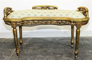 * A Louis XVI Style Giltwood Bench Height 23 x width 40 x depth 17 1/4 inches.
