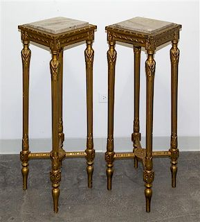 * A Pair of Louis XVI Style Giltwood Pedestals Height 39 1/2 x width 13 1/2 x depth 13 1/2 inches.
