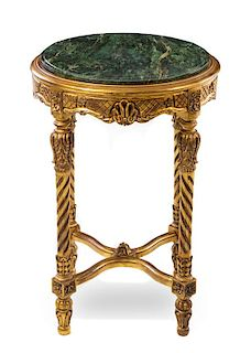 * Two Louis XVI Style Giltwood Tables Height of first 29 x diameter of top 21 inches.