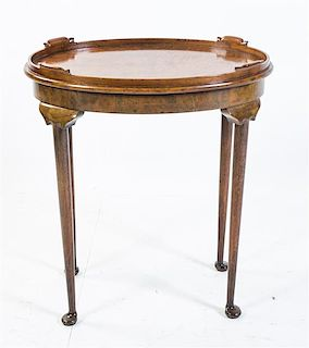 A Burlwood Tray Table Height 27 3/4 x width 25 1/4 x depth 17 3/4 inches.