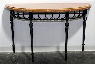 An Iron and Marble Console Table Height of base 32 1/4 x width 48 x depth 15 1/2 inches.