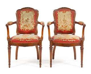 A Pair of Louis XVI Style Fauteuils Height 37 1/4 inches.