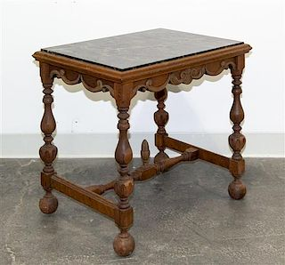 A Jacobean Revival Side Table Height 21 1/2 x width 24 x depth 17 3/4 inches.