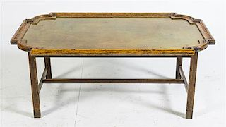 A Spanish Brass Inset Low Table Height 17 x width 40 x depth 23 1/2 inches.