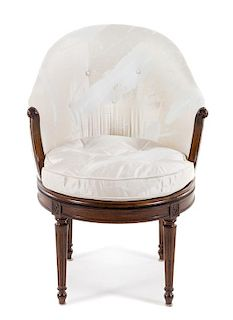 A Louis XVI Style Walnut Bergere Height 33 1/2 inches.